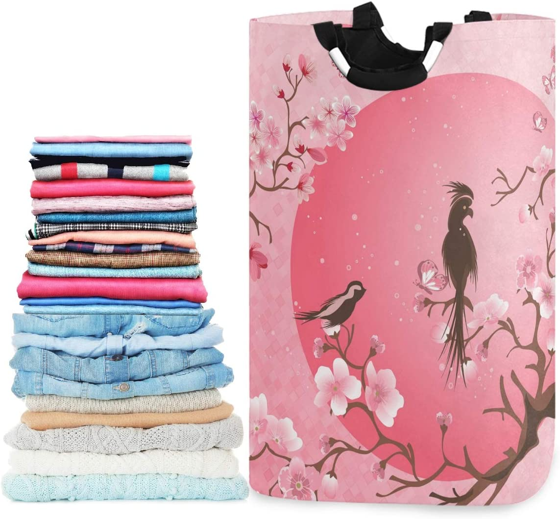 visesunny Collapsible Laundry Basket Cherry Blossom Bird and Pink Moon Large Laundry Hamper with Handle Toys and Clothing Organization for Bathroom, Bedroom, Home, Dorm, Travel