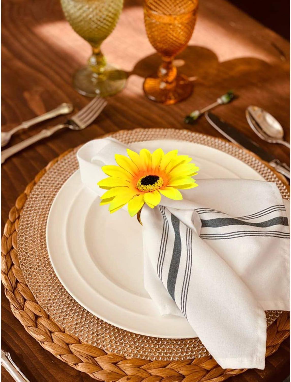 Ajuny Juego de 6 servilleteros decorativos hechos a mano de madera para cena fiesta decoraci/ón de mesa de 3,8 cm