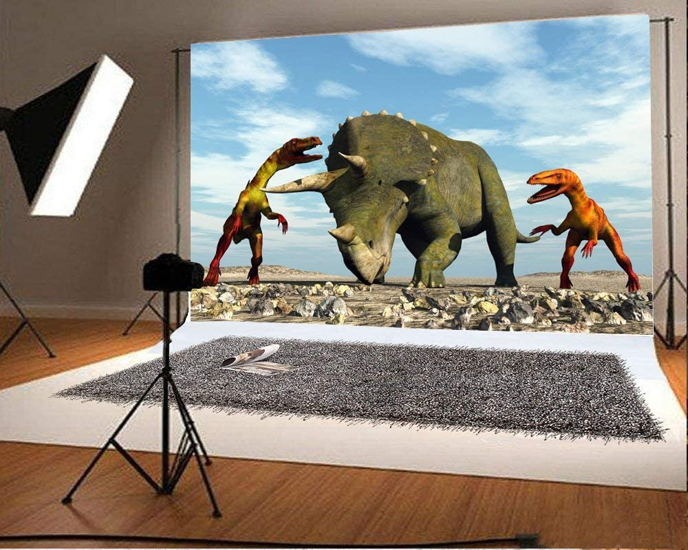 8x6.5FT Polyester Photography Background 3D Giant Dinosaur Destory Park Scary Mouth Green Trees Hills Dinosaur Backdrop Children Baby Girls Photo Portrait Shoot Video Studio Prop