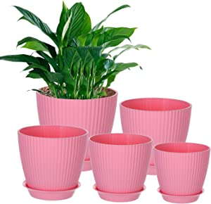 Genenic Pack of 5 Plant Pots, 7.7/6.9/6.1/5.3/4.9 Inch Plastic Garden Pots with Drainage Hole and Tray, Succulents Planters, Flower Pots for Indoor Outdoor Home Office Decor(Pink)