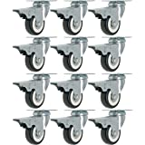 12 Pack 2-Inch Caster Wheels WITH BRAKE Swivel Plate Casters On Black Polyurethane Wheels