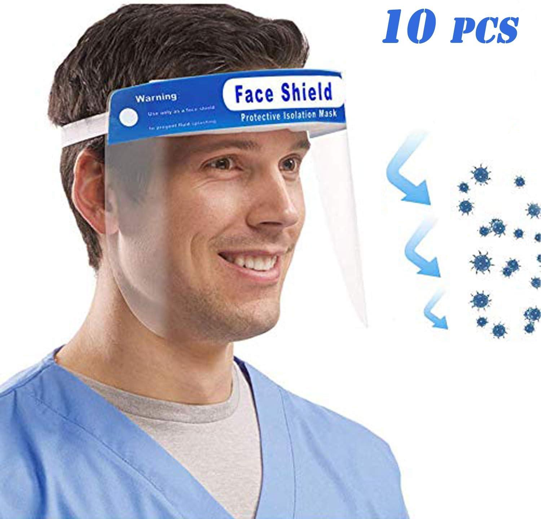 DECADE Lot de 10 visi/ères de protection pour le visage en plastique anti-bu/ée et anti-huile Transparent