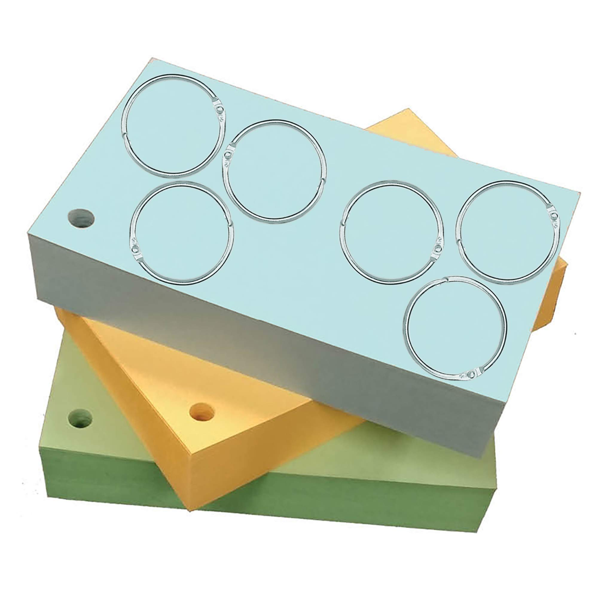 Debra Dale Designs 3'' X 5'' Standard 110# Ringed Index Cards - 300 Cards - Single Hole Punched - Includes Six Metal Binder Rings - Three Pastel Colors - Blue, Green, Buff - Packaged 100 Of Each Color by DEBRADALE DESIGNS