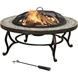 JOYPANDA 34-Inch Natural Slate Tile Top Outdoor Fire Pit with Spark Screen, Steel Wood Grate and Safety Poker