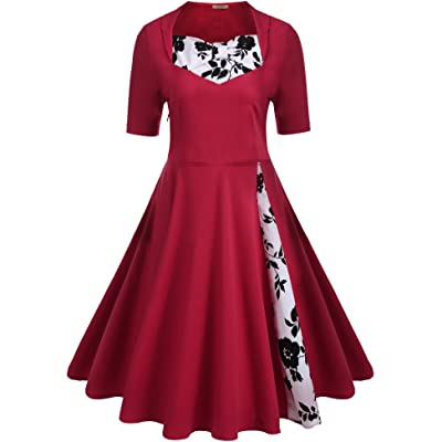 9982a1a6033 ACEVOG Women s Classic A Line Pleated 1950s Vintage Dresses Rockabilly  Swing Party Cocktail Dress