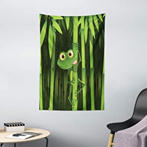 "Ambesonne Animal Tapestry, Funny Illustration of Friendly Fun Frog on Stem of The Bamboo Jungle Trees Nature, Wall Hanging for Bedroom Living Room Dorm Decor, 40"" X 60"", Green Shades"
