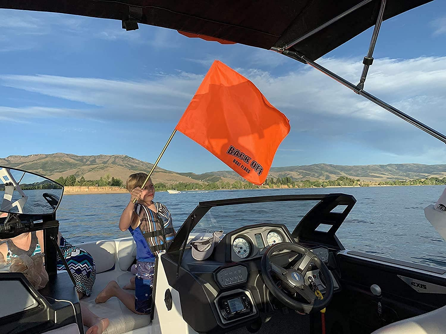 GIANT Orange Boating Safety Flag with Pole for Water Skis Wakeboarding and Tubing Universal Safety Skier Down Flag