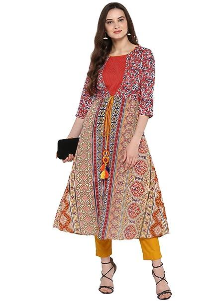 6d187aa29 Juniper Mustard Cotton Kantha Dobby Kalamkari Print Jacket Style Layered  Kurta with Dori Tie-Up  Amazon.in  Clothing   Accessories