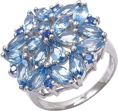 Bague Argent 925 Topaze Bleu Ciel pierre précieuse fiançailles