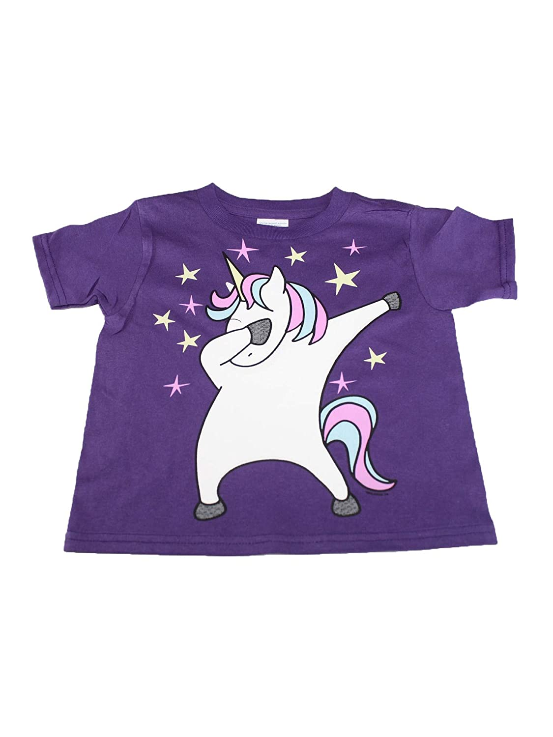 Little Girls Purple Dabbing Unicorn Print Short Sleeve Cotton T-Shirt 2T-5