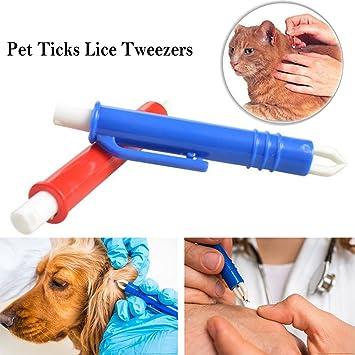 Instrumentos Antigarrapatas Tick Remoción Garrapatas Pinzas Herramientas de Aseo para Perros, Gatos, Caballos, Conejos Eliminar plagas Pinzas para pulgas: ...