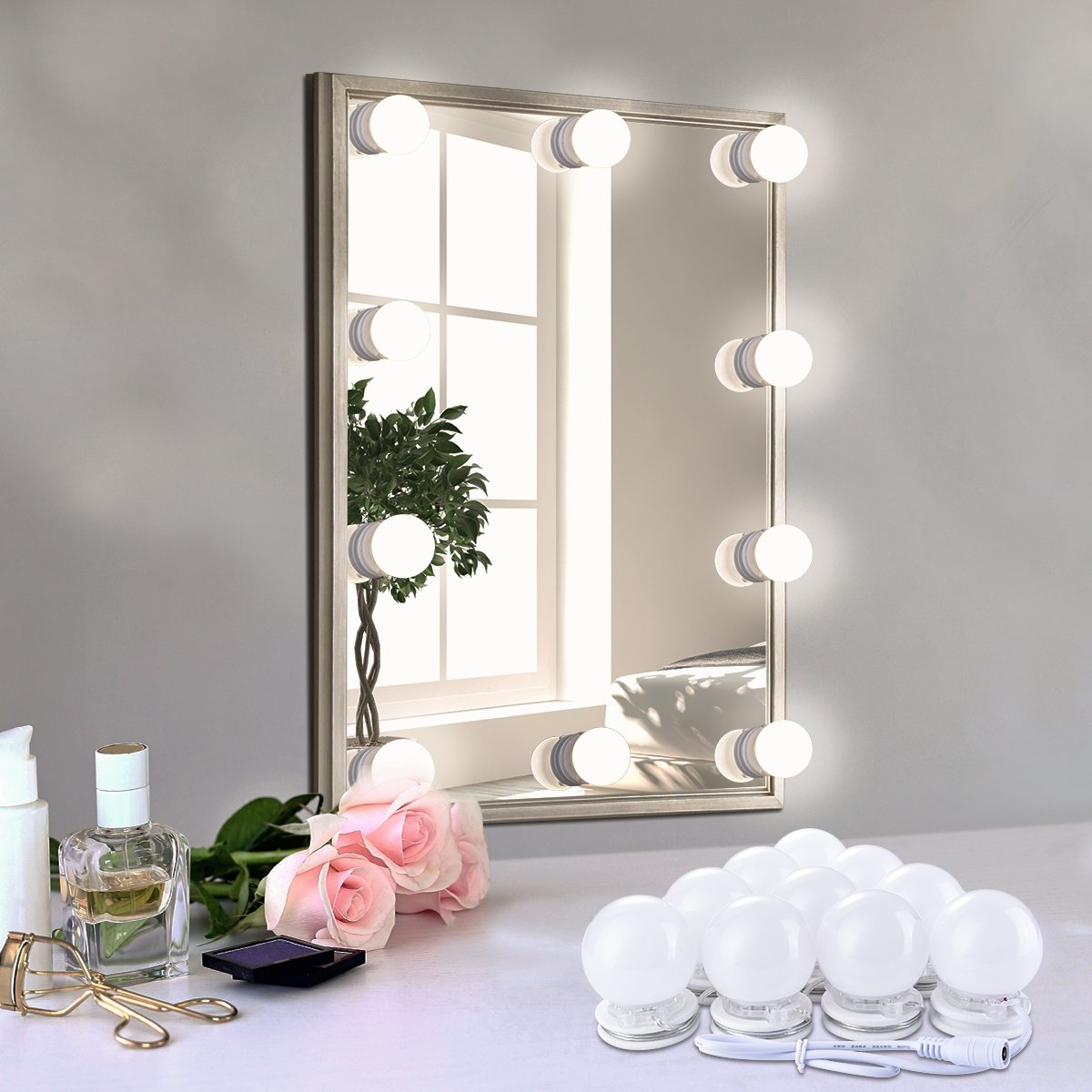 Arioj Hollywood Style LED Vanity Lights Makeup Fill Light Adjustable Light with Touch Dimmer,Lighting Fixture Strip for Dressing Table,Bathroom(Mirror Not Include)
