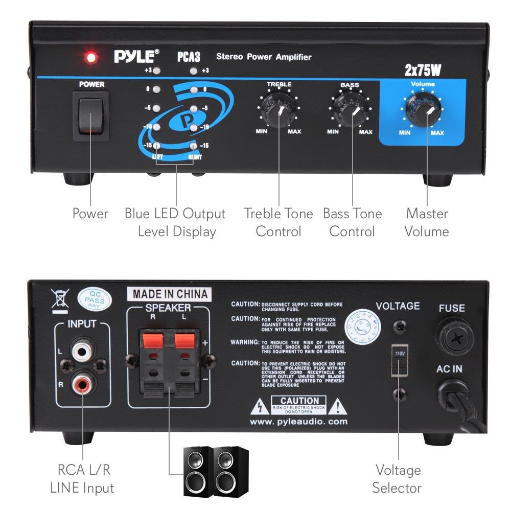 Home Audio Power Amplifier System 2x75w Mini Portable Dual Channel Surround Sound Stereo Receiver Box W Led For Amplified Subwoofer Speakers Cd Fuse Master