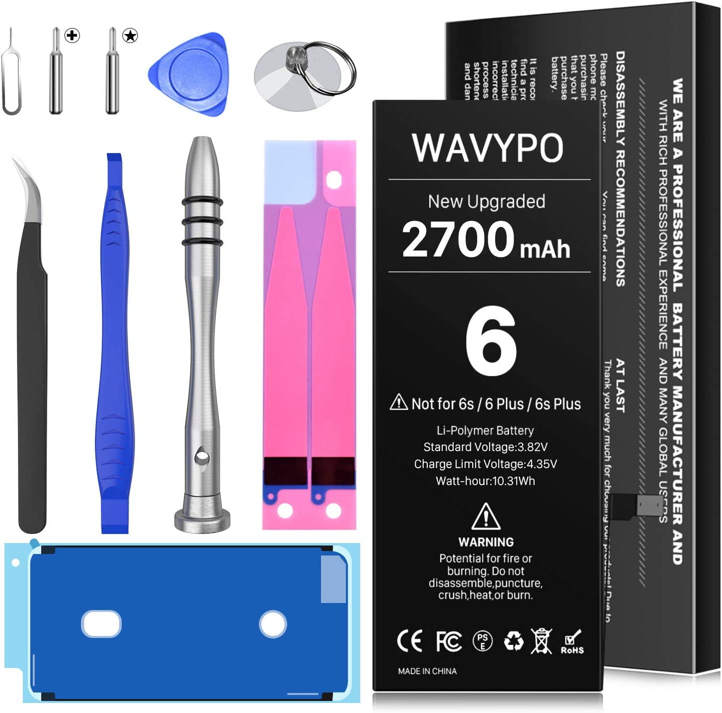 2700mAh Battery for iPhone 6, Upgraded Wavypo 2021 New Version High Capacity 0 Cycle Replacement Battery for iPhone 6 A1586 A1589 A1549 with Full Replacement Tool Kit Instruction