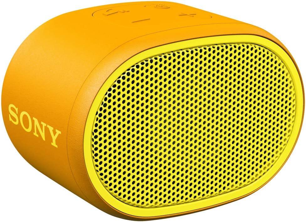 Sony SRSXB01Y - Altavoz inalámbrico portátil (Compacto, Bluetooth, Extra Bass, 6h de batería, Resistente al Agua IPX5, Viene con Correa) Color Amarillo