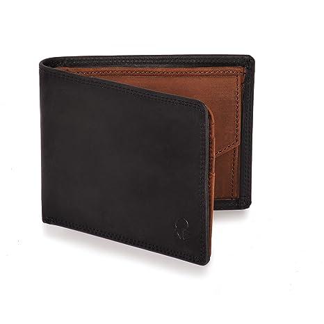 4ed85cd46f50a Donbolso Geldbörse Berlin Leder Herren - Geldbeutel schwarz braun -  Portemonnaie für Männer mit RFID Schutz