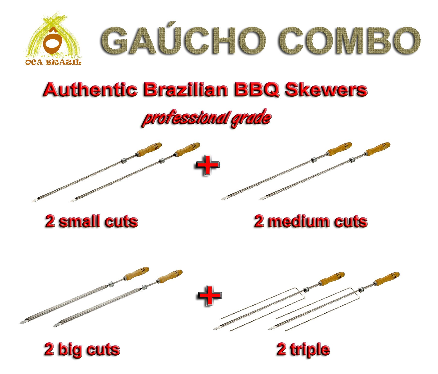 Oca-Brazil Brazilian Skewers for BBQ 28'' - Professional Grade - Set of 8 - Gaucho Combo by Oca-Brazil