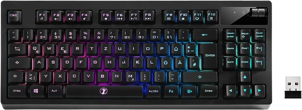 ZJFKSDYX Teclado inalámbrico recargable RGB, conexión inalámbrica de 2,4 G, sin conflictos, impermeable, silencioso, larga espera, disposición alemana ...