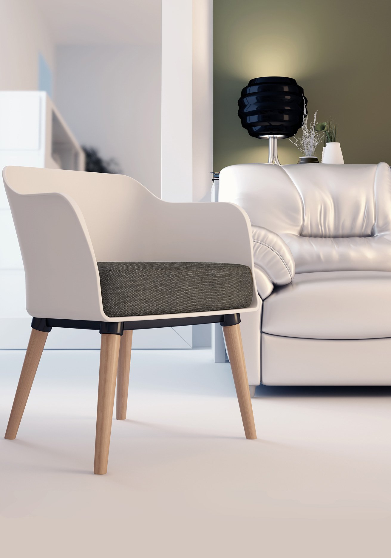 Cali Modern Mid-Century Accent White Armchair with Gray Luxury Cushion by ARIEL