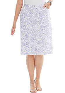 807eb3117f Jessica London Women's Plus Size Classic Cotton Denim Long Skirt at ...