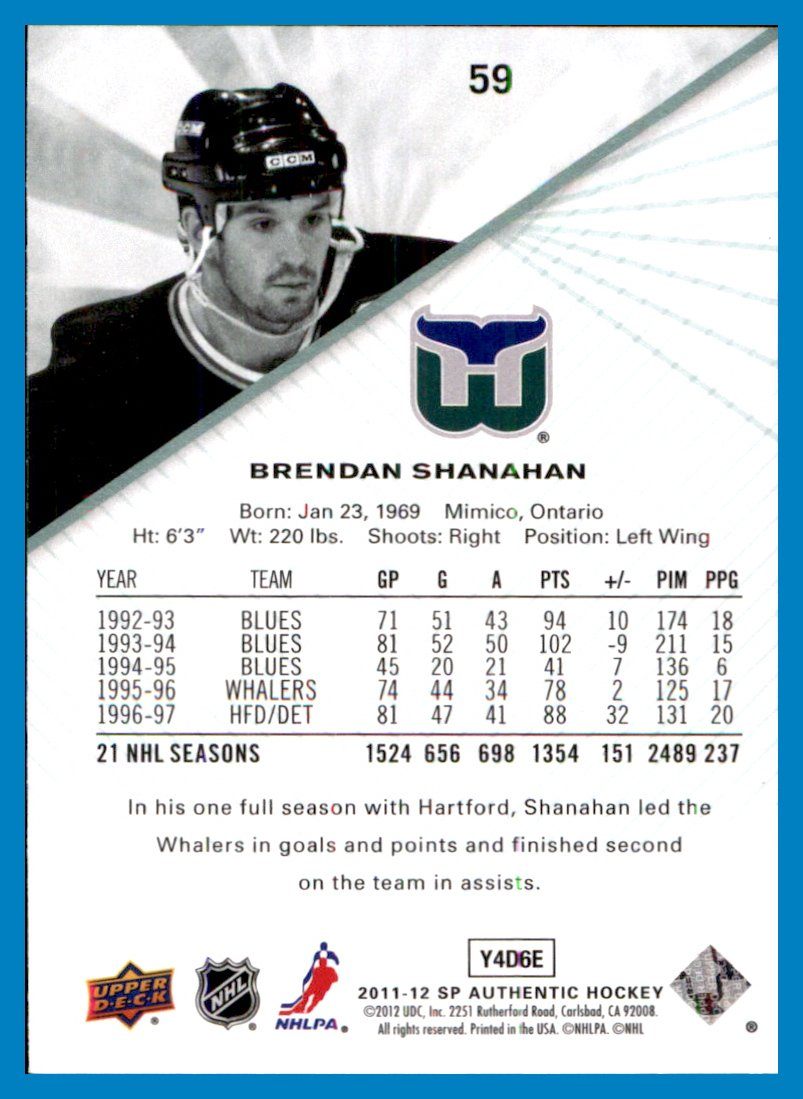 319b1a3c2 2011-12 SP Authentic  59 Brendan Shanahan hartford whalers at Amazon s  Sports Collectibles Store