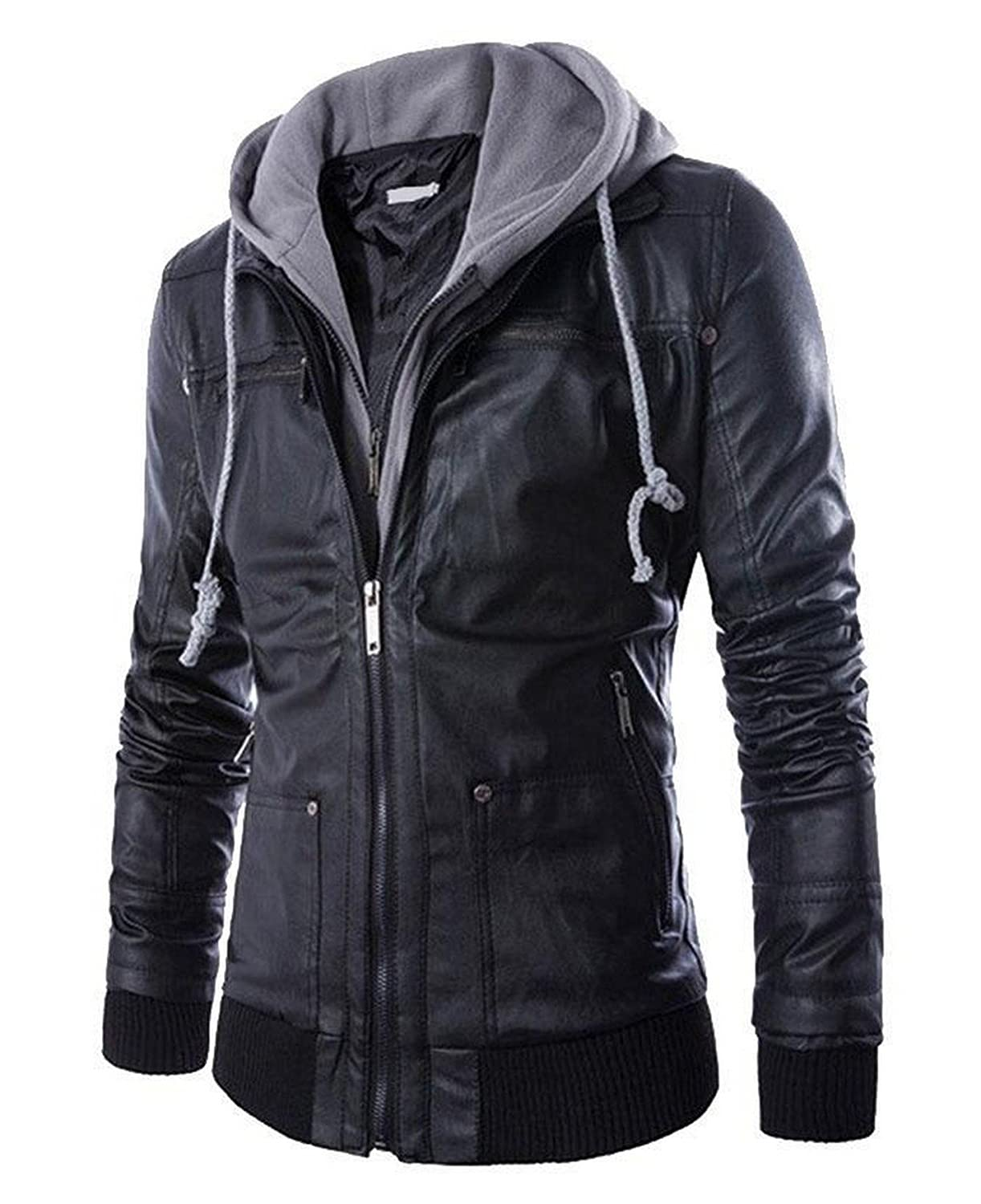 Pomo-Z Men's Faux Leather Hooded Biker Jacket