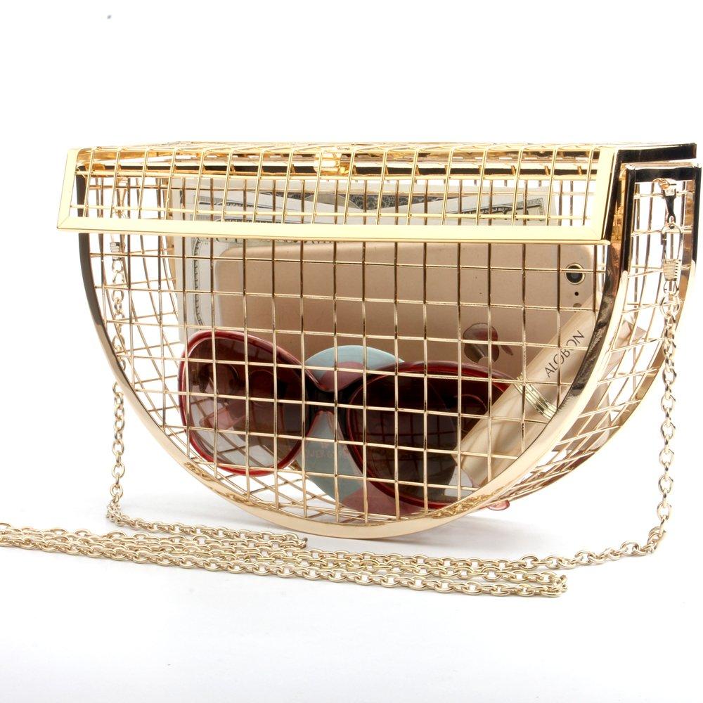 Women's Personality Features Semicircular Geometric Evening Bag Shoulder Horizontal Bag, Clutch Cage Bag (GOLD)