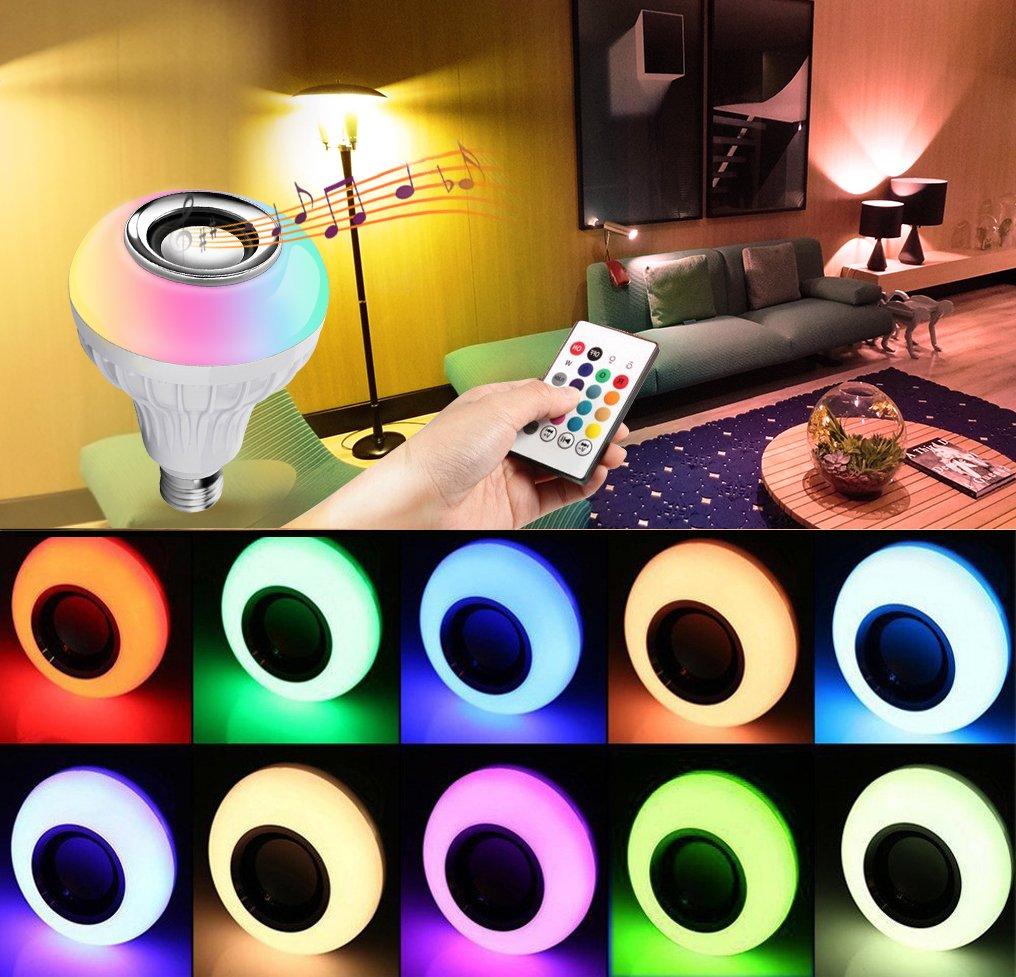 Amteker LED Bombilla con Altavoz Bluetooth, E27 RGBW Lámpara Cambio Color con Control Remoto para Hogar, Rscenario, Bar, Decoración del Partido