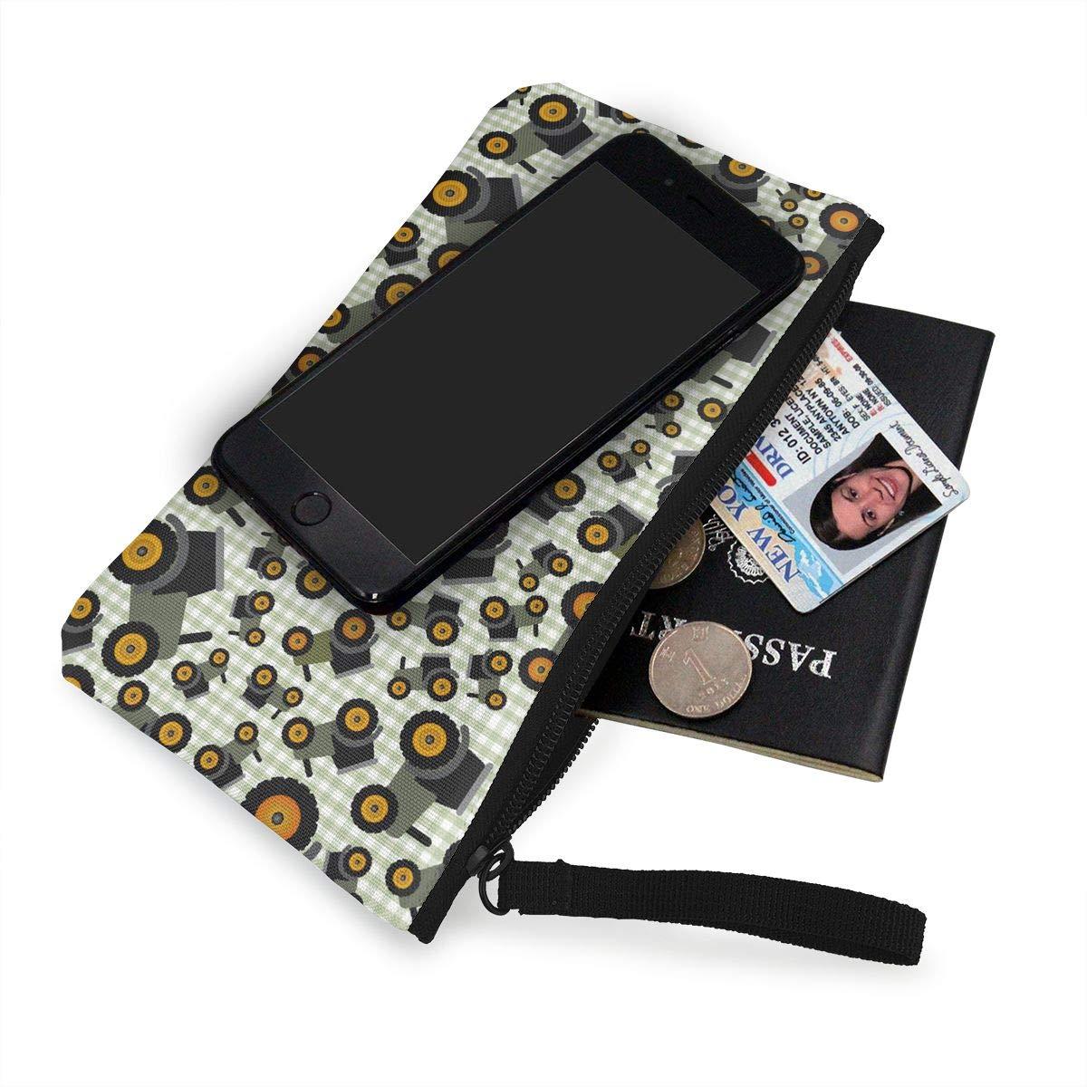 Cellphone Clutch Purse With Wrist Strap Farm Illustration Pattern Zipper Small Purse Wallets Girls Canvas Coin Purse