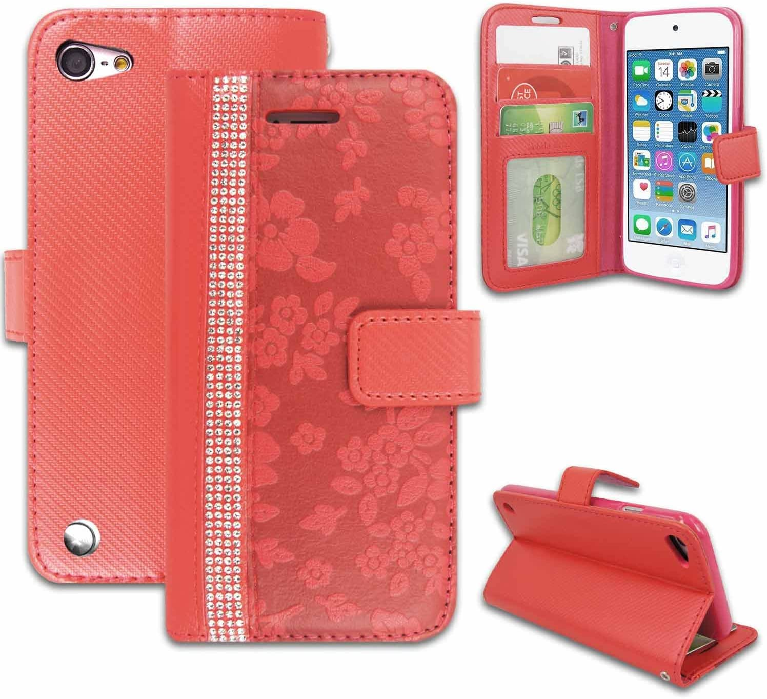 iPod Touch 6 6th Gen WITH FREE Screen Protector Premium Leather Wallet Flip Stand Case Cover Card Holder Slots Pouch For Apple iPod Touch 5 5th Gen iPod Touch 5th//6th Gen Case Owl Style 3