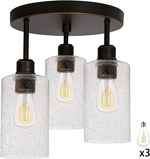 3 Light Semi Flush Mount Ceiling Light Led Edison Bulbs As Bonus 14 Inch Vintage Oil Rubbed Bronze Lighting Fixtures With Seeded Glass Shades For Kitchen Entrance Way And Hallway Etl Listed