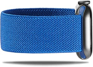 NOLIKO Compatible with Apple Watch Band 38mm 40mm 42mm 44mm Women Scrunchie Sport Elastic Cute Stretchy Nylon Solo Loop Strap for iWatch Series 6 5 4 3 SE, Men, Royal Blue 38/40 M