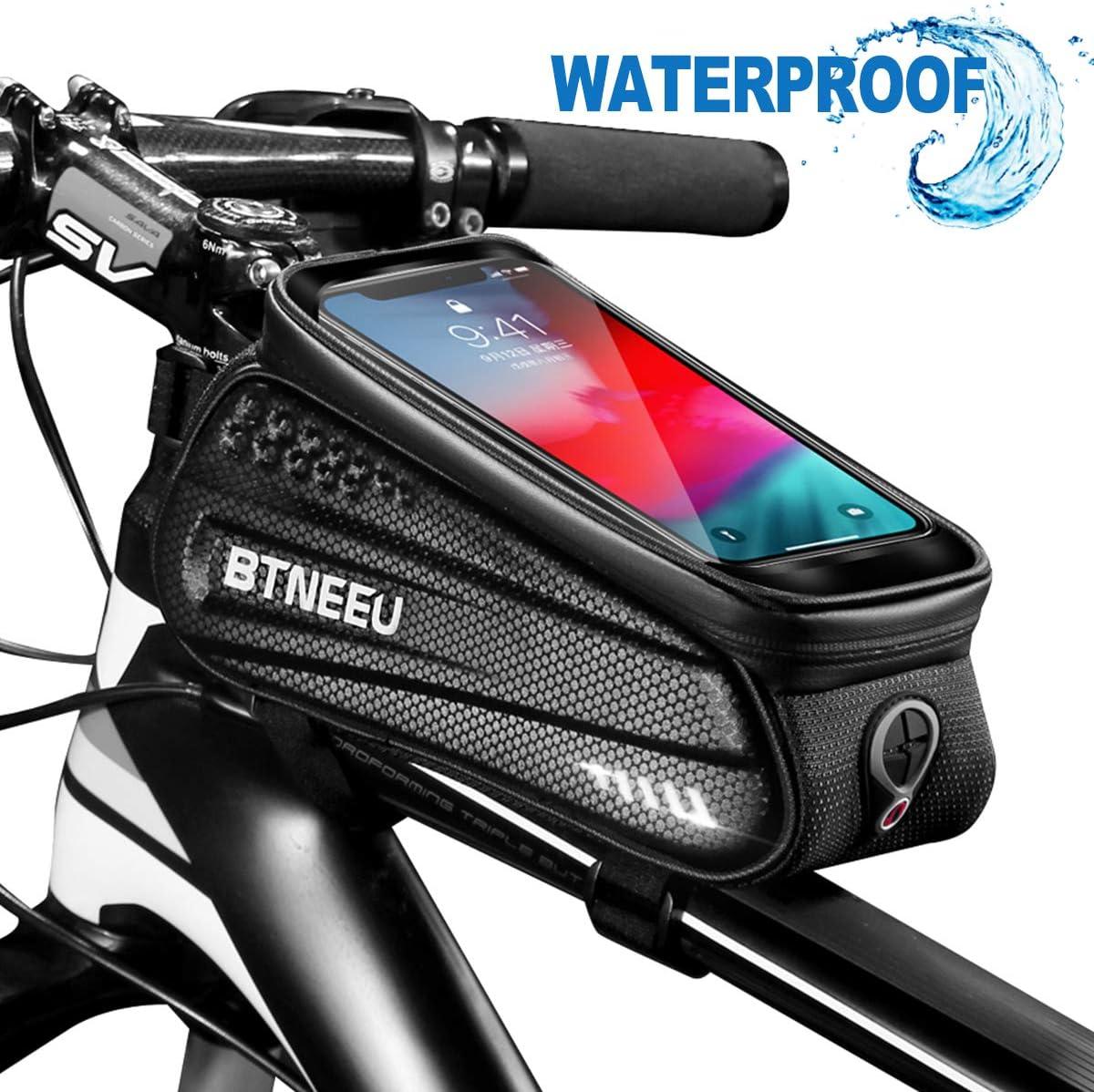 BTNEEU Bolsa Cuadro Bicicleta Impermeable con Pantalla Táctil, Bolsa Bicicleta Manillar Movil Bolsa Bicicleta Telefono Bolsa Tubo Bicicleta para iPhone Samsung Smartphone Menos de 6.5''
