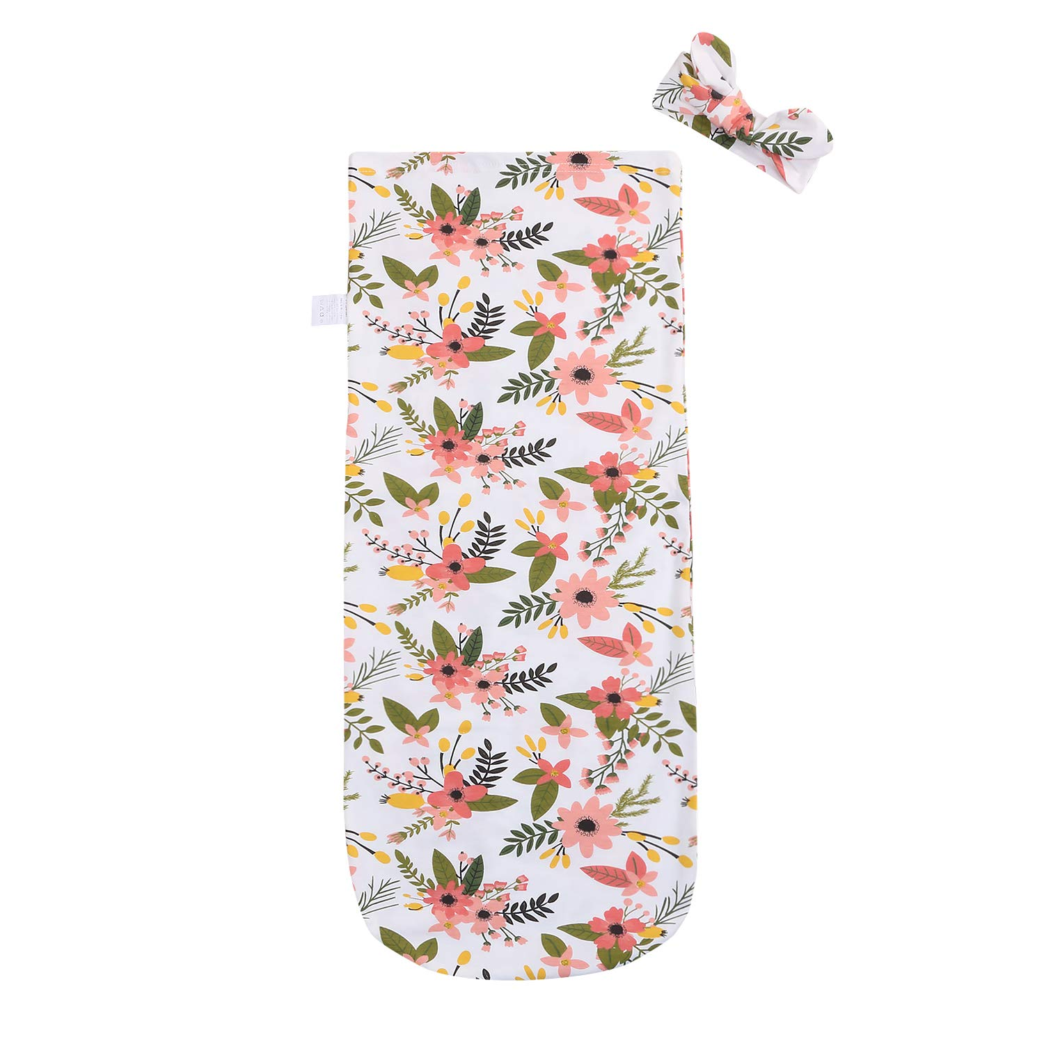 2PCS Newborn Infant Baby Boy Girl Swaddle Blankets Donut Floral Sleeping Bag Receiving Blankets with Headband Outfits