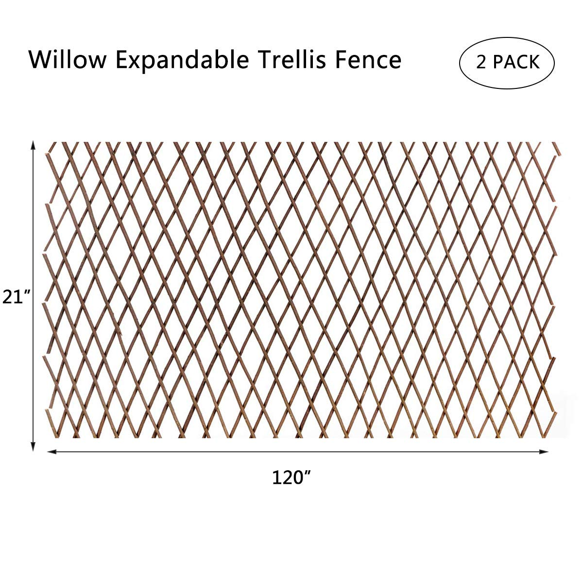 DOEWORKS Expandable Garden Trellis Plant Support Willow Lattice Fence Panel for Climbing Plants Vine Ivy Rose Cucumbers Clematis - 2PACK
