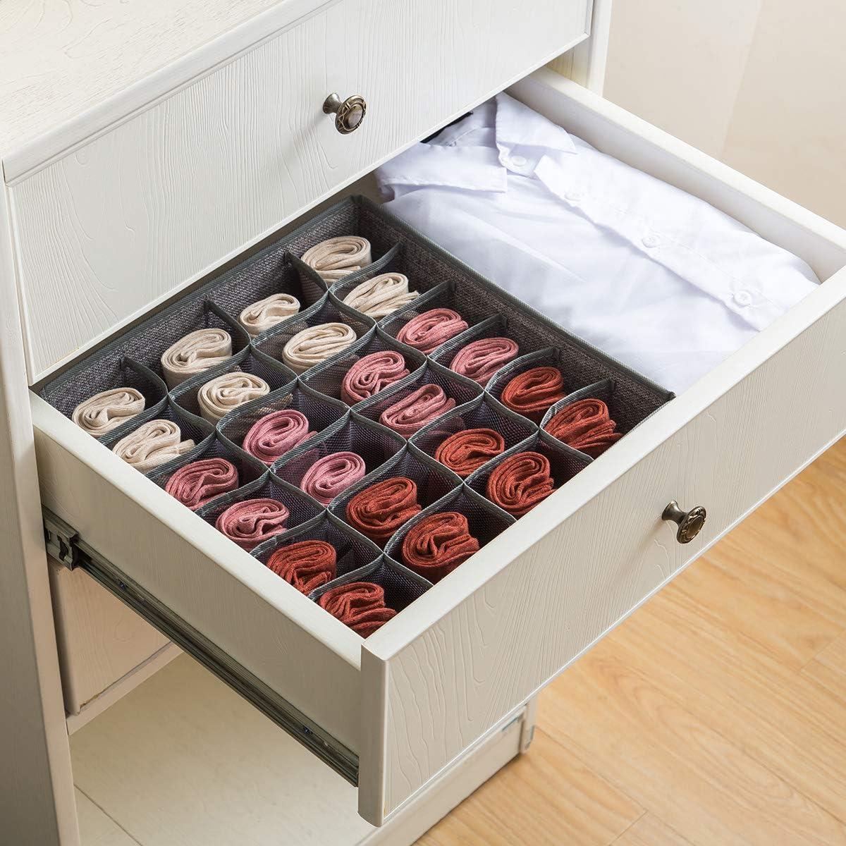 24 Cell Collapsible Closet Cabinet Organizer Underwear Storage Boxes for Storing Socks Qozary 2 Pack Linen Textured Closet Socks Organizer Drawer Divider Gray, 242 Underwear Lingerie