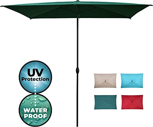 Abba Patio Rectangular Outdoor Patio Umbrella Market Table Umbrella with Push Button Tilt and Crank, 6.6 by 9.8 Ft, Green