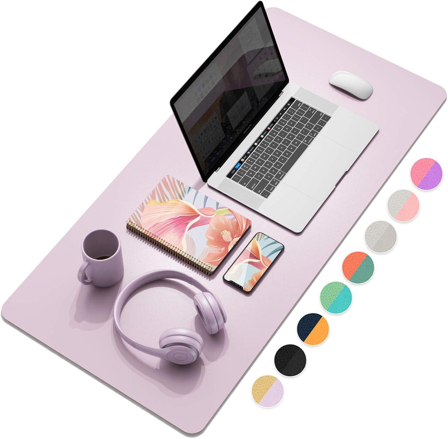 "YSAGi Multifunctional Office Desk Pad, Ultra Thin Waterproof PU Leather Mouse Pad, Dual Use Desk Writing Mat for Office/Home (35.4"" x 17"", Grayish Lavendar+Cinnamon Buff)"