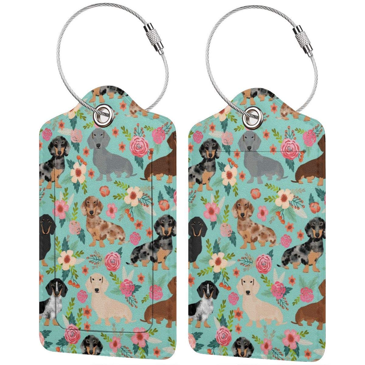 Godzigod Luggage Tags PU Leather Suitcase Card Tag with Stainless Steel Loop Travel Baggage Handbag Tag Labels Travel Accessories Dachshund Dog Vintage Mastiff Florals