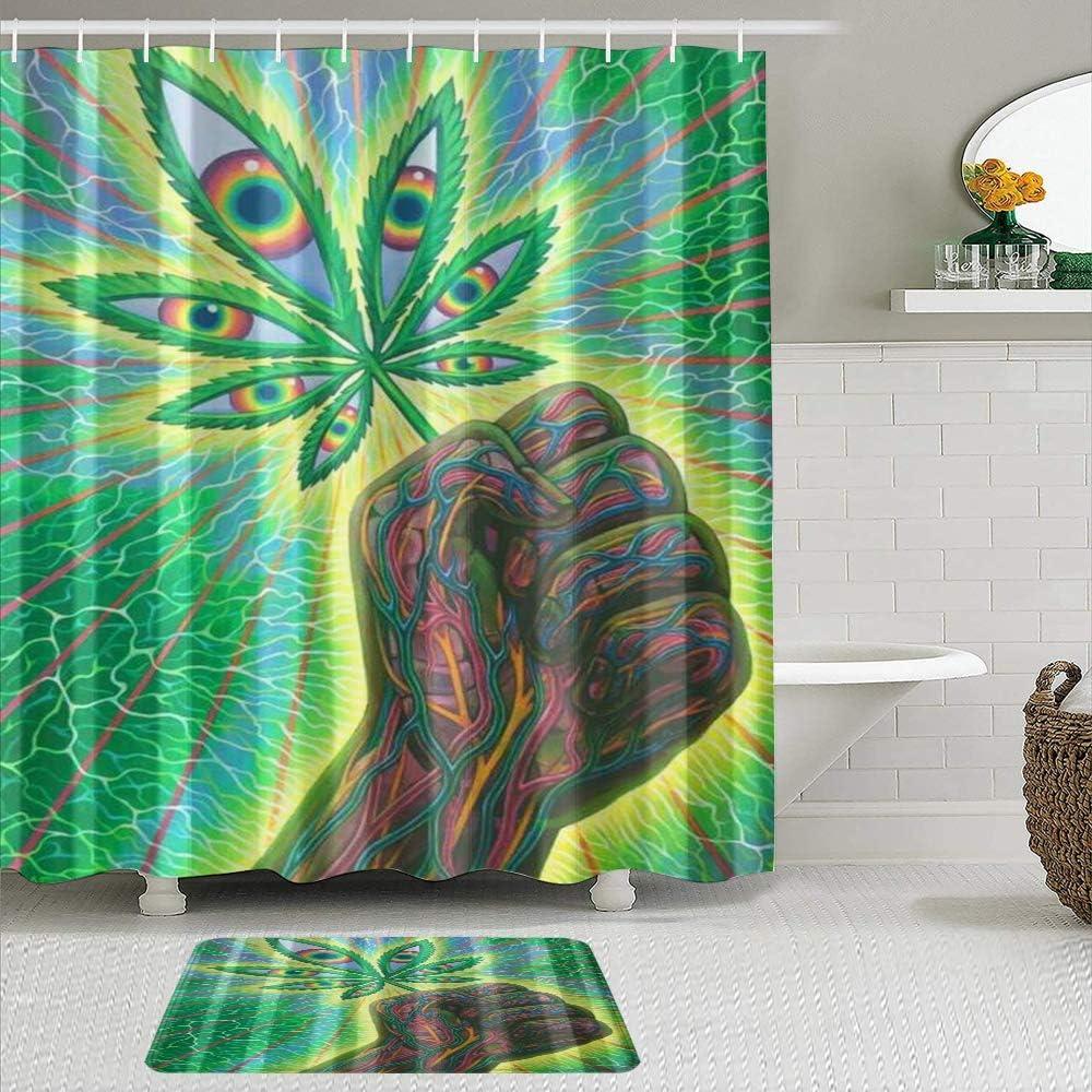 KISSENSU Cortinas con Ganchos,Cannabis Hierba Mano Marihuana Divertido,Cortina de Ducha Alfombra de baño Bañera Accesorios Baño Moderno