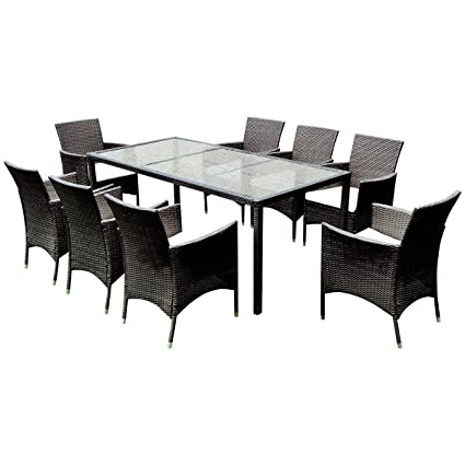 TANGKULA 9PCS Patio Wicker Furniture Set Outdoor Garden Modern Wicker  Rattan Dining Table Chairs Conversation Set