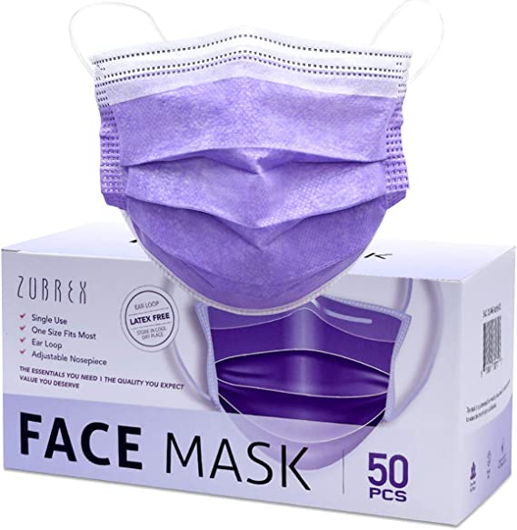 ZUBREX 50 Pcs Disposable 3 Ply Safety Face Mask