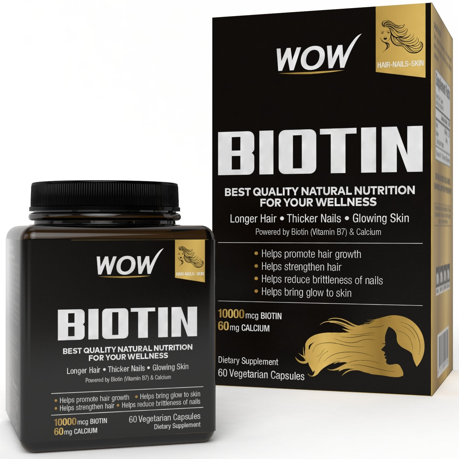 WOW Biotin Maximum Strength 10,000mcg - 60 Vegetarian Capsules