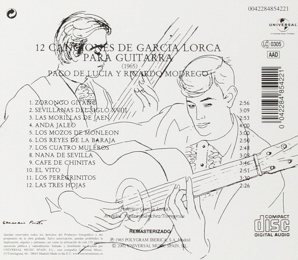 12 Canciones De Garcia Lorca Para Guitarra: Ricardo Modrego ...