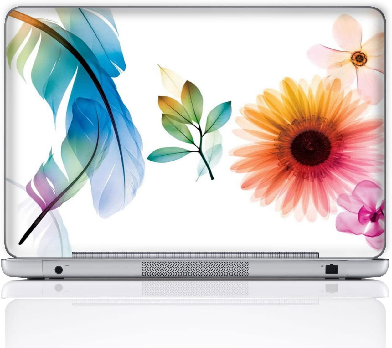 Meffort Inc 14 Inch Laptop Notebook Skin Sticker Cover Art Decal (Free Wrist pad) - Flower Leave Design