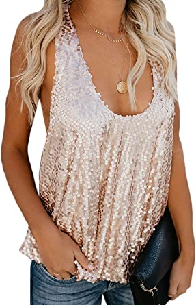 Mujeres Verano Lentejuelas Camisetas sin Mangas Camisas Casual Paillettes Camiseta Top: Amazon.es: Ropa y accesorios