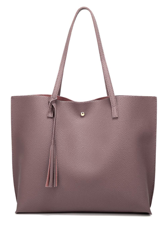 Women's Soft Leather Tote Shoulder Bag from Dreubea, Big Capacity Tassel Handbag Dark Pink