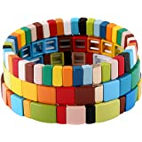 Coolcos Tile Bracelets Stackable Enamel Stretchy Tile Bracelet Rainbow Colorblock Beads Bracelets Bohemian Strand…