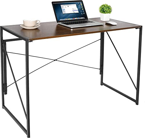 SUPER DEAL Folding Computer Writing Desk Wood and Metal Study Desk