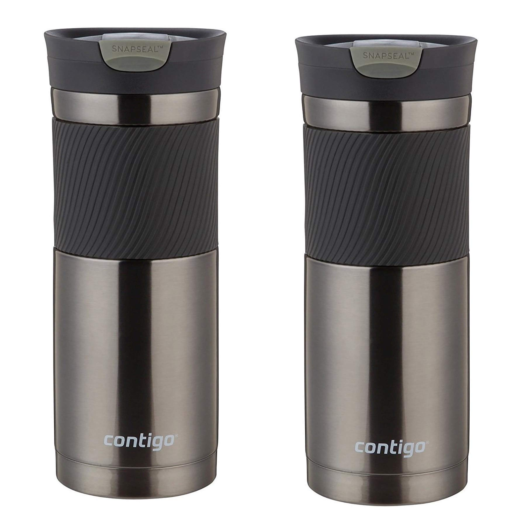 Contigo 20oz SnapSeal Byron Travel Mug, Gunmetal - Leak Proof Coffee Mug - Vacuum Insulated - Maintains the Temperature of All Drinks, Hot or Cold - Fits Most Car Cupholders - 2 Pack